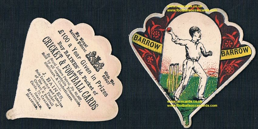 1890 Baines cricket card fan shape Barrow CC Cumberland Cumbria